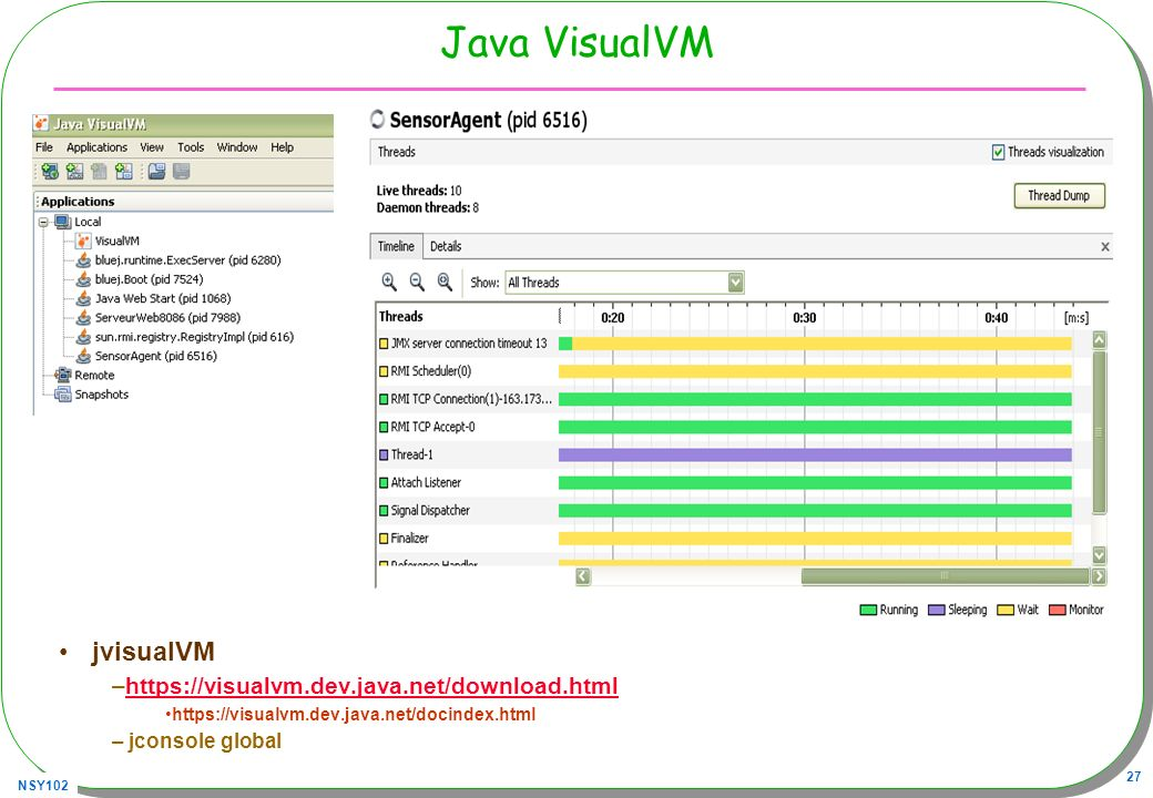 Java VisualVM jvisualVM https://visualvm.dev.java.net/download.html