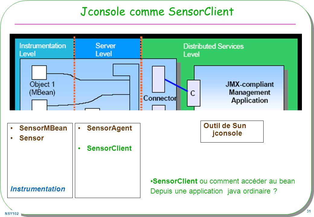 Jconsole comme SensorClient