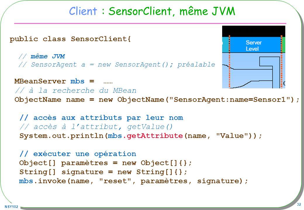 Client : SensorClient, même JVM