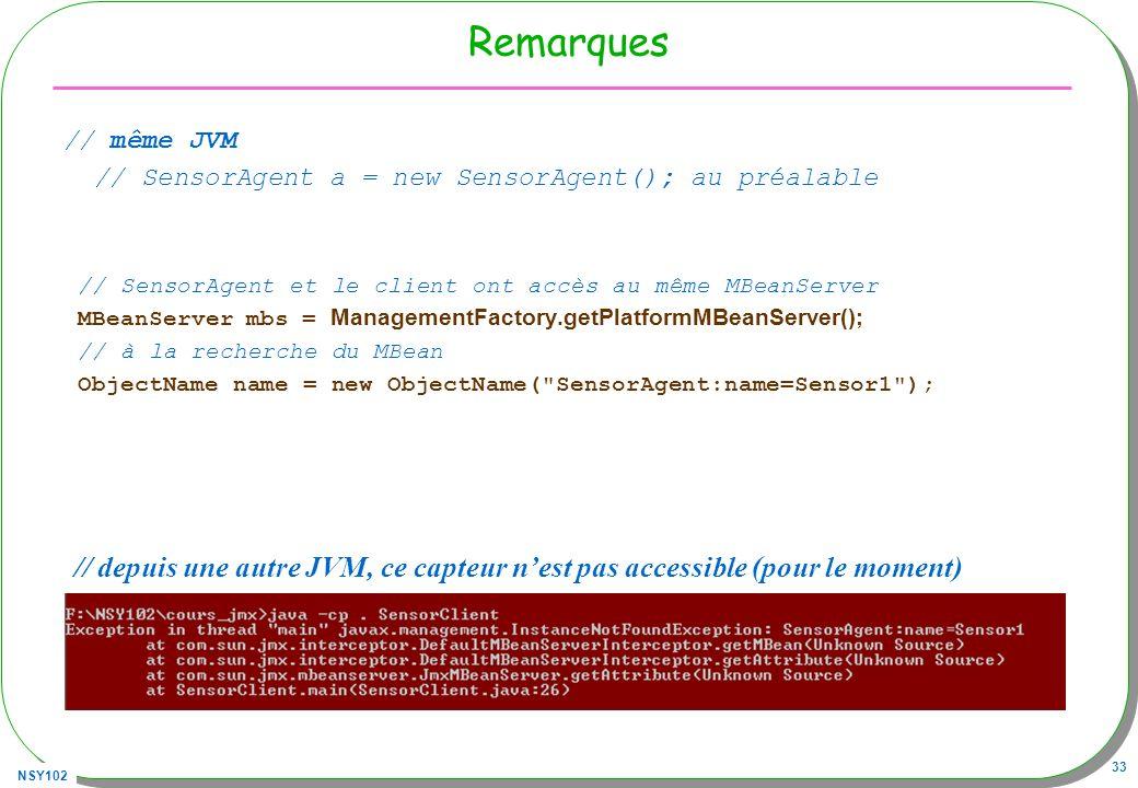 Remarques // même JVM. // SensorAgent a = new SensorAgent(); au préalable. // SensorAgent et le client ont accès au même MBeanServer.