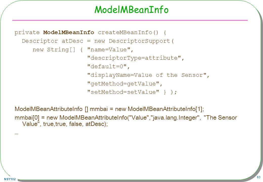 ModelMBeanInfo private ModelMBeanInfo createMBeanInfo() {