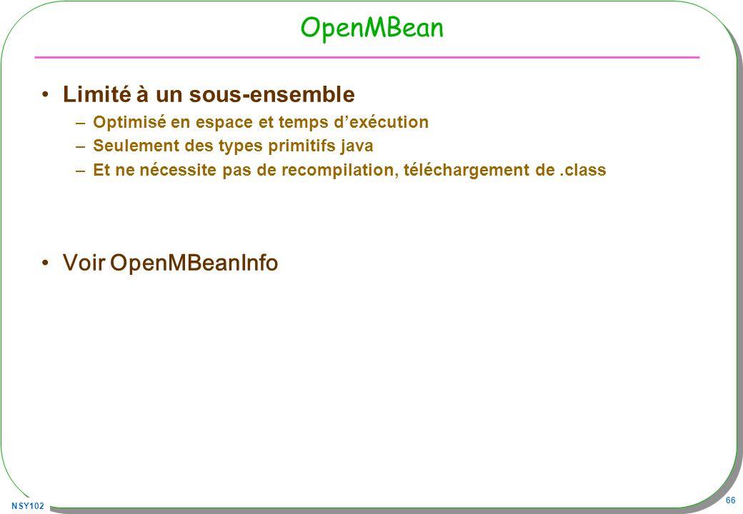 OpenMBean Limité à un sous-ensemble Voir OpenMBeanInfo