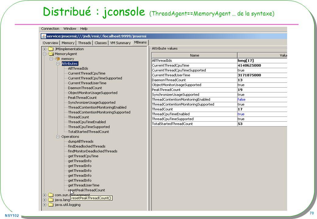 Distribué : jconsole (ThreadAgent==MemoryAgent … de la syntaxe)