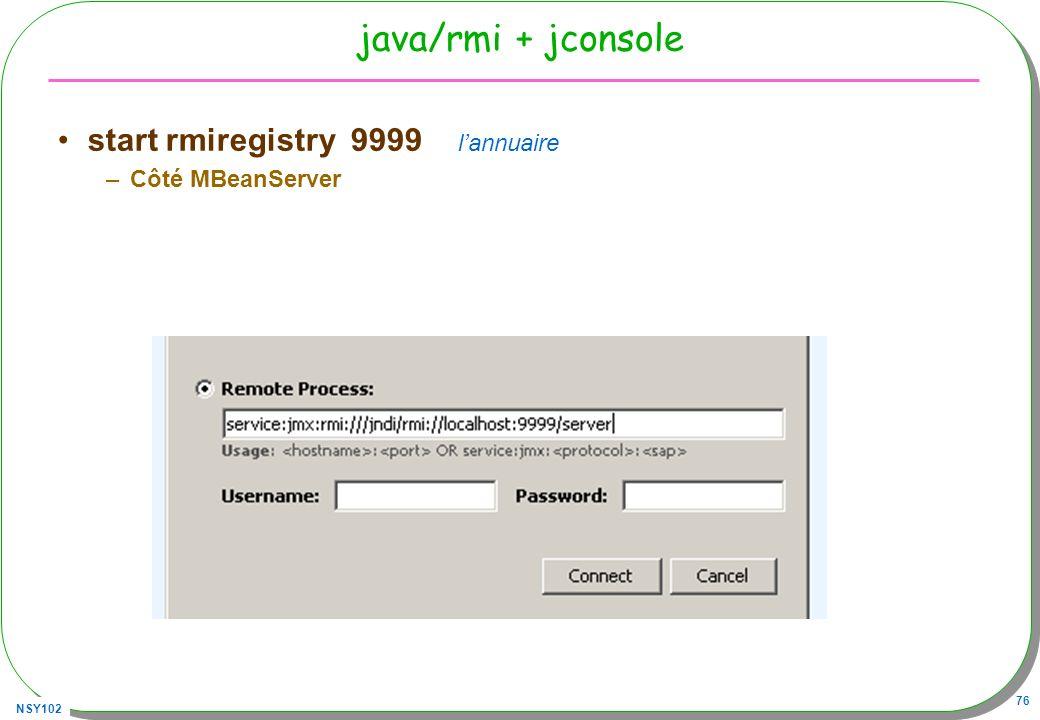 java/rmi + jconsole start rmiregistry 9999 l'annuaire Côté MBeanServer