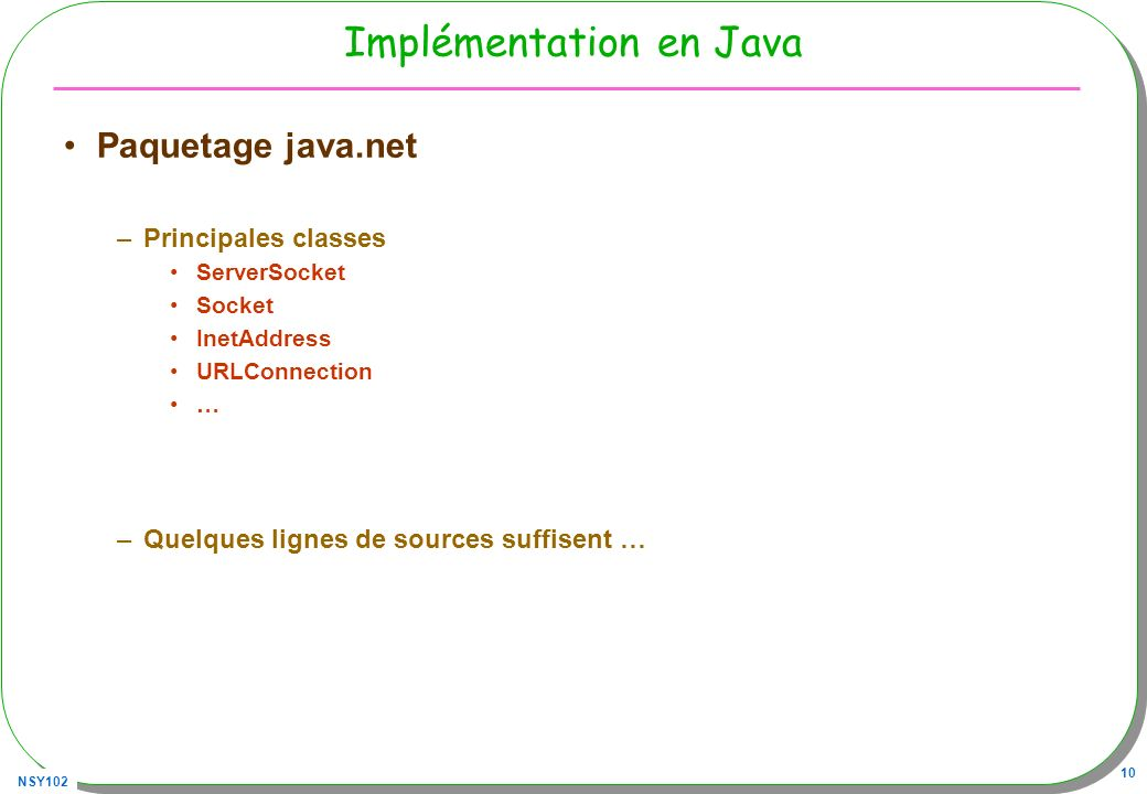 Implémentation en Java