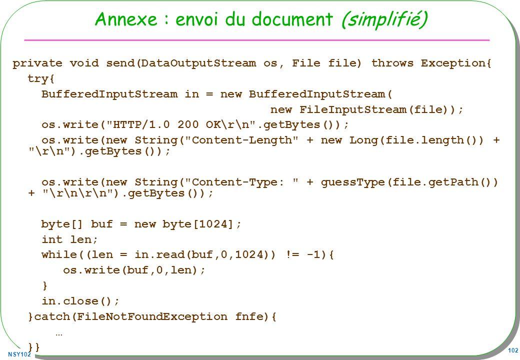 Annexe : envoi du document (simplifié)