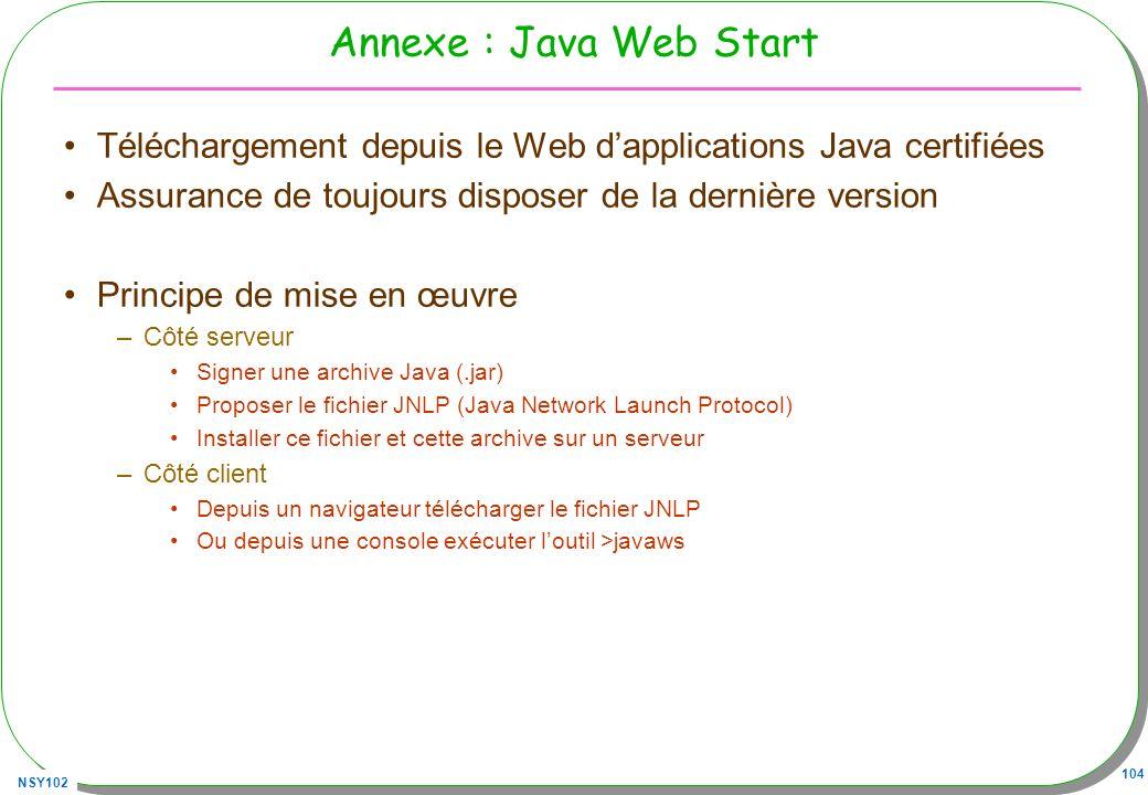Annexe : Java Web Start Téléchargement depuis le Web d'applications Java certifiées. Assurance de toujours disposer de la dernière version.