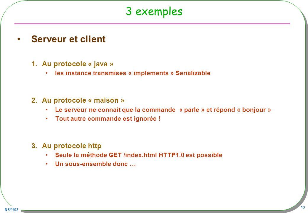 3 exemples Serveur et client Au protocole « java »