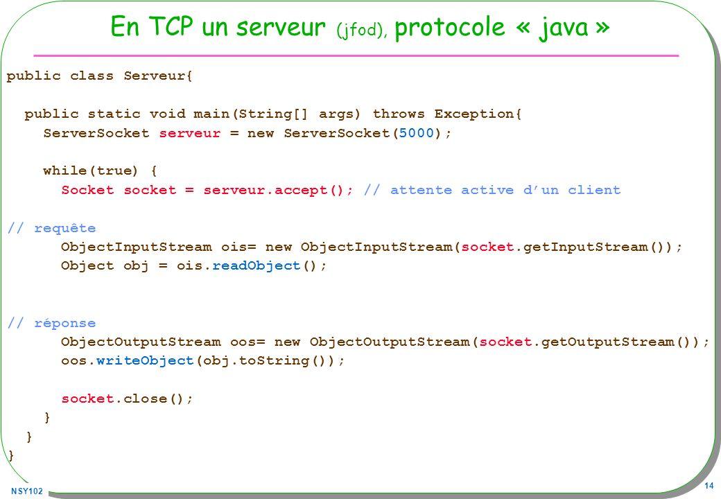 En TCP un serveur (jfod), protocole « java »