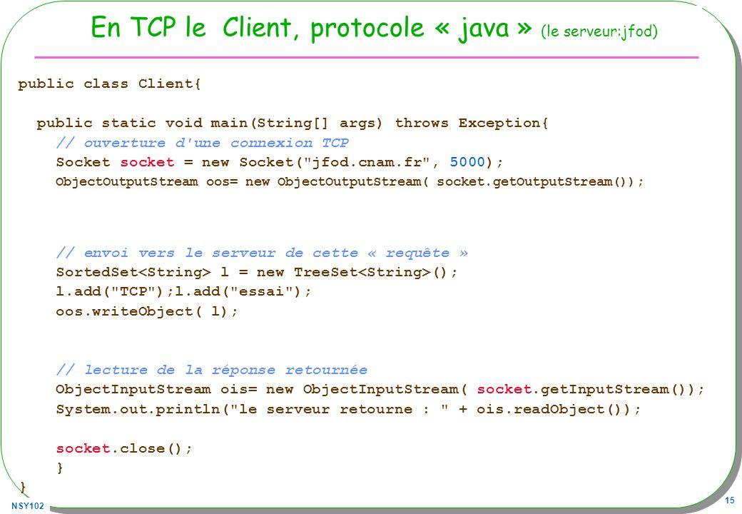 En TCP le Client, protocole « java » (le serveur:jfod)