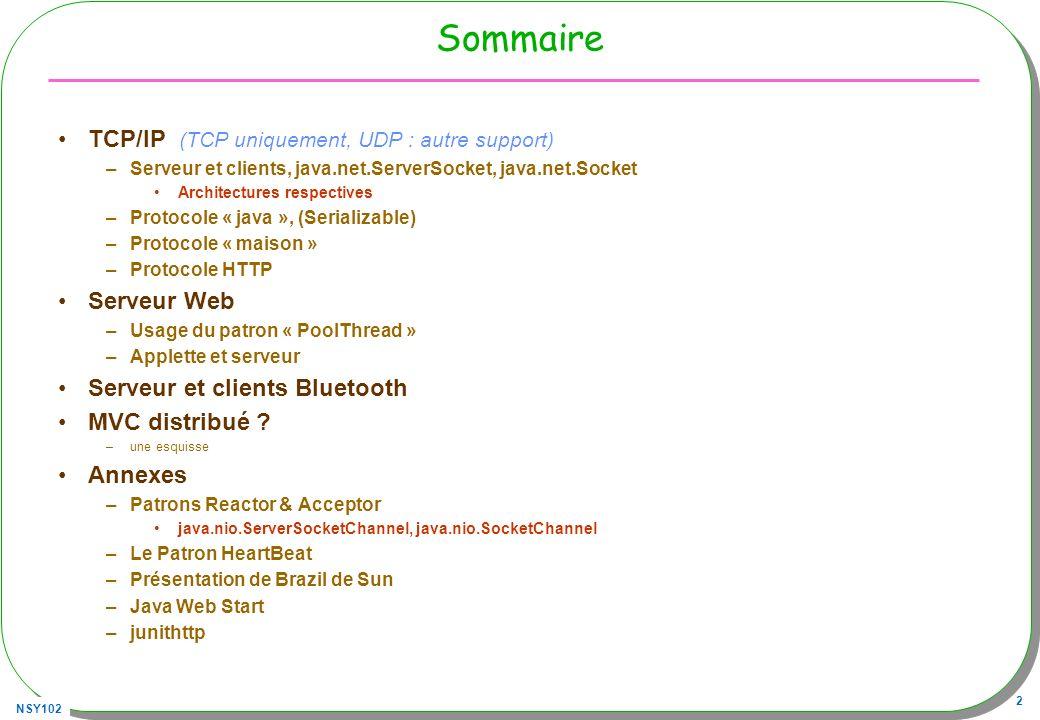 Sommaire TCP/IP (TCP uniquement, UDP : autre support) Serveur Web