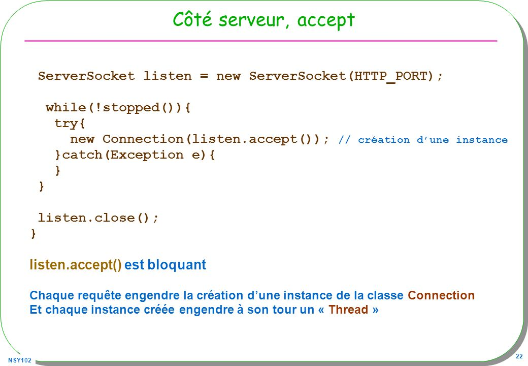 Côté serveur, accept ServerSocket listen = new ServerSocket(HTTP_PORT); while(!stopped()){ try{