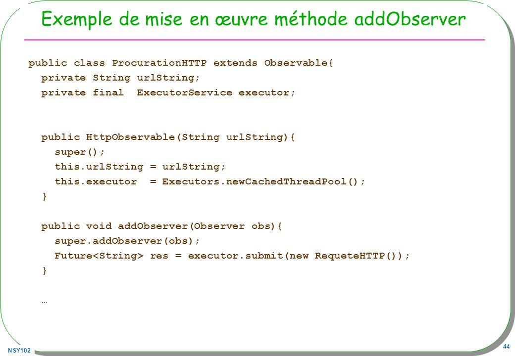 Exemple de mise en œuvre méthode addObserver