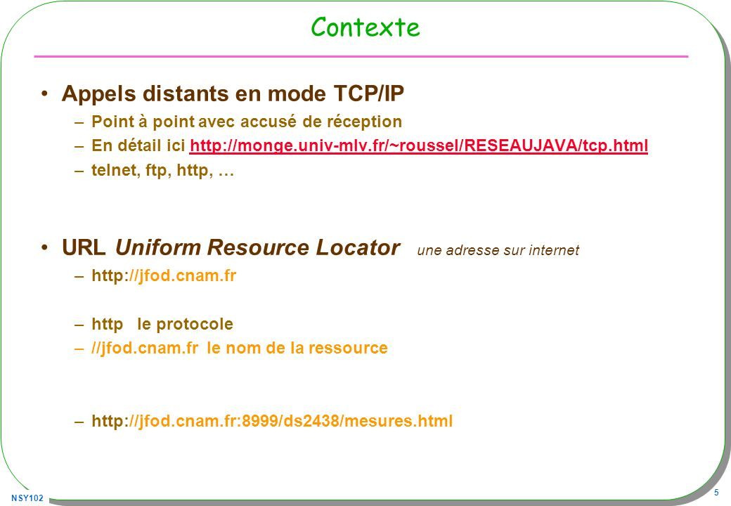 Contexte Appels distants en mode TCP/IP