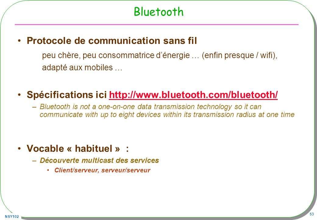 Bluetooth Protocole de communication sans fil