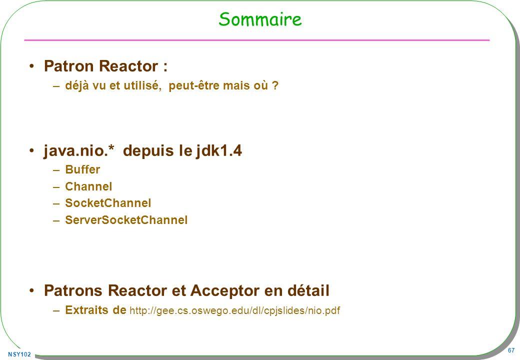 Sommaire Patron Reactor : java.nio.* depuis le jdk1.4