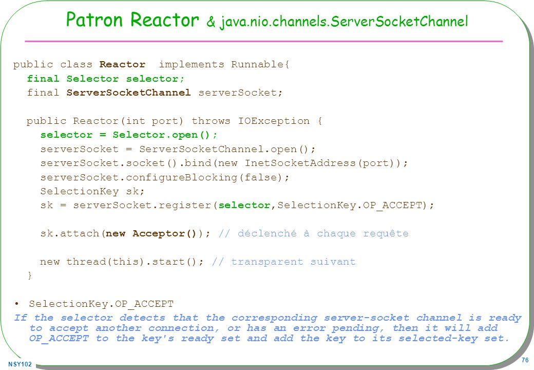 Patron Reactor & java.nio.channels.ServerSocketChannel