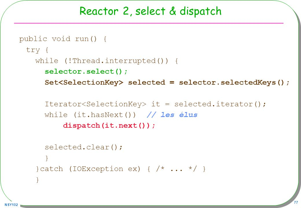 Reactor 2, select & dispatch