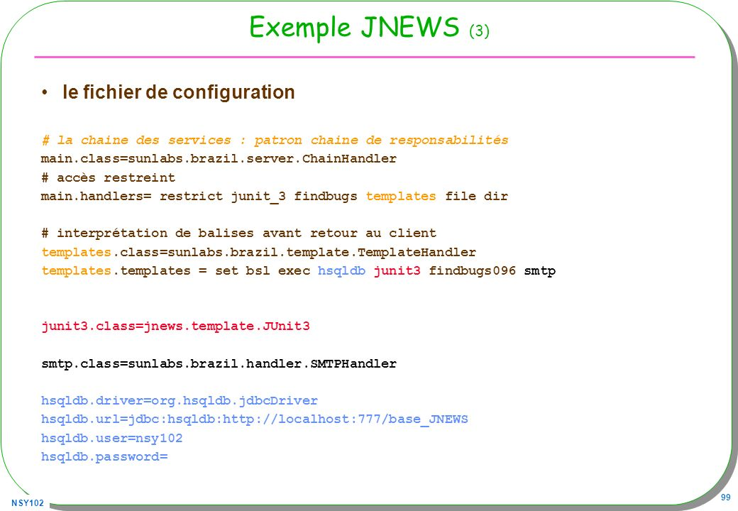 Exemple JNEWS (3) le fichier de configuration
