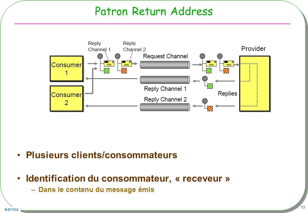 Patron Return Address Plusieurs clients/consommateurs
