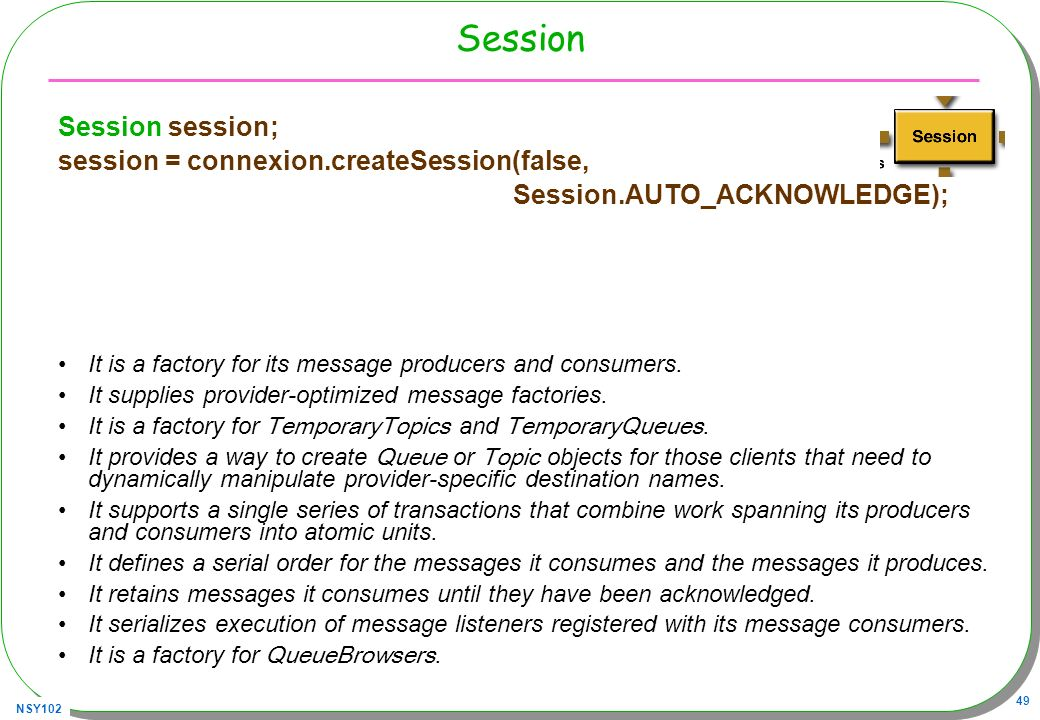 Session Session session; session = connexion.createSession(false,