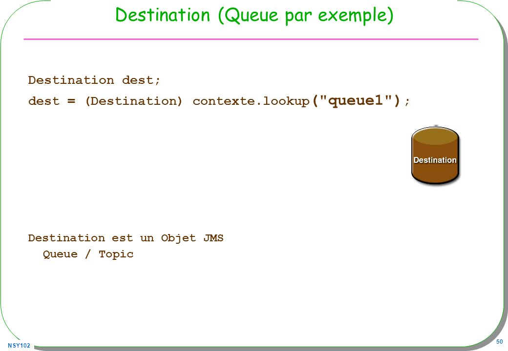 Destination (Queue par exemple)