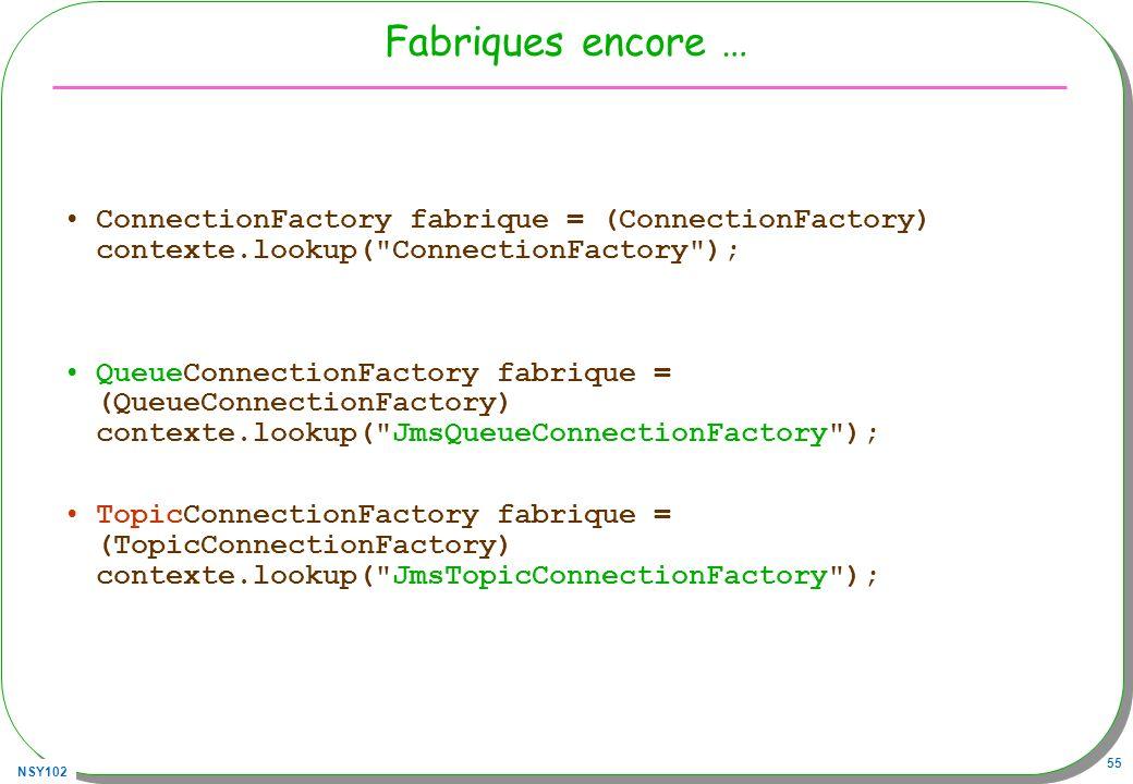 Fabriques encore … ConnectionFactory fabrique = (ConnectionFactory) contexte.lookup( ConnectionFactory );