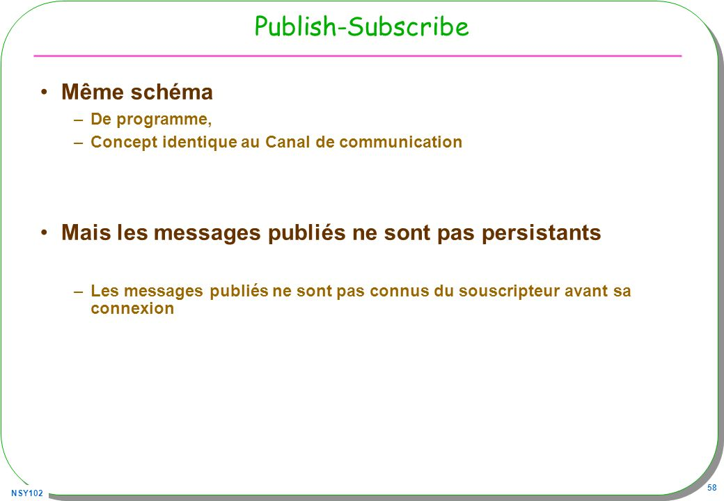 Publish-Subscribe Même schéma