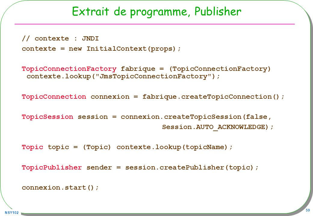Extrait de programme, Publisher