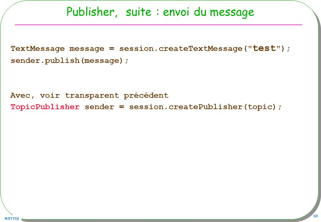 Publisher, suite : envoi du message