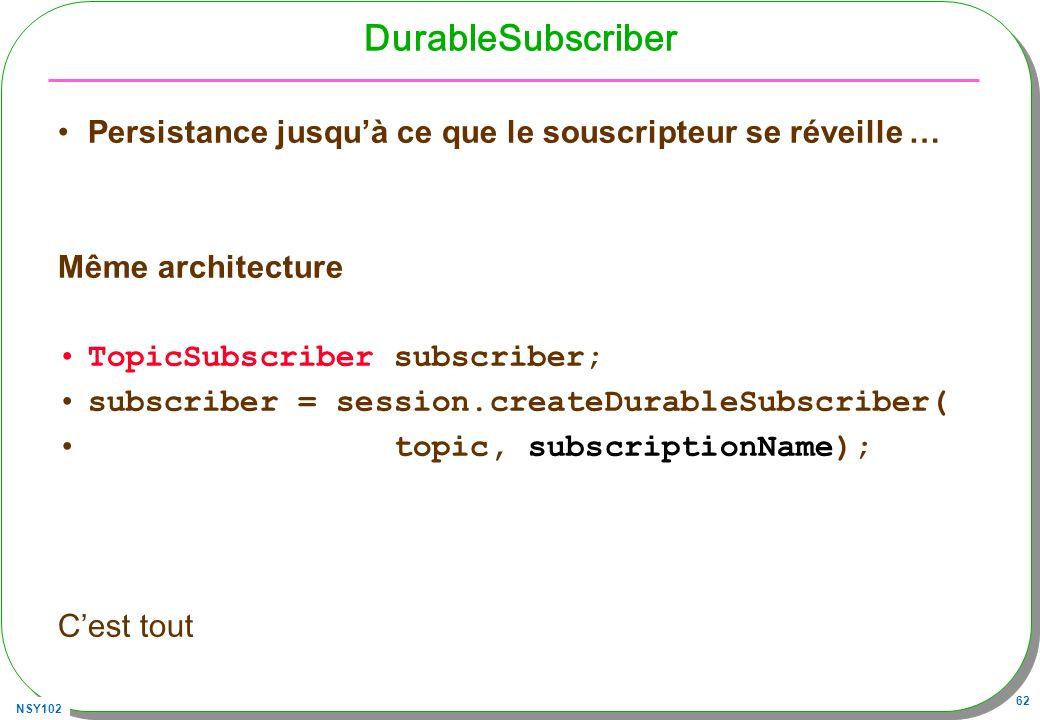 DurableSubscriber Persistance jusqu'à ce que le souscripteur se réveille … Même architecture. TopicSubscriber subscriber;