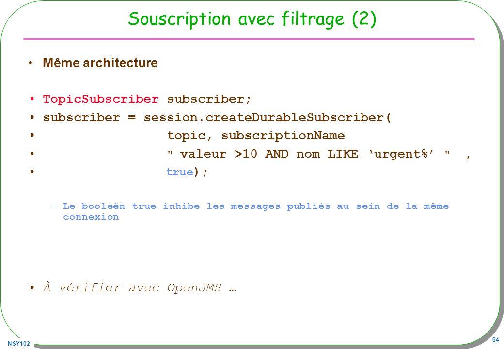Souscription avec filtrage (2)