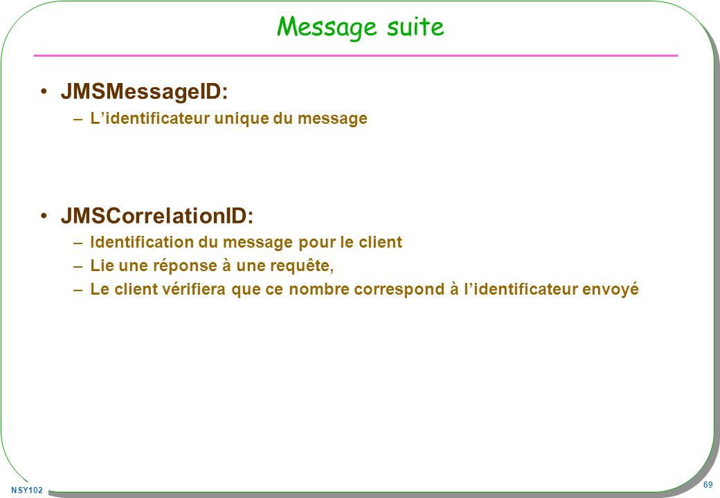 Message suite JMSMessageID: JMSCorrelationID: