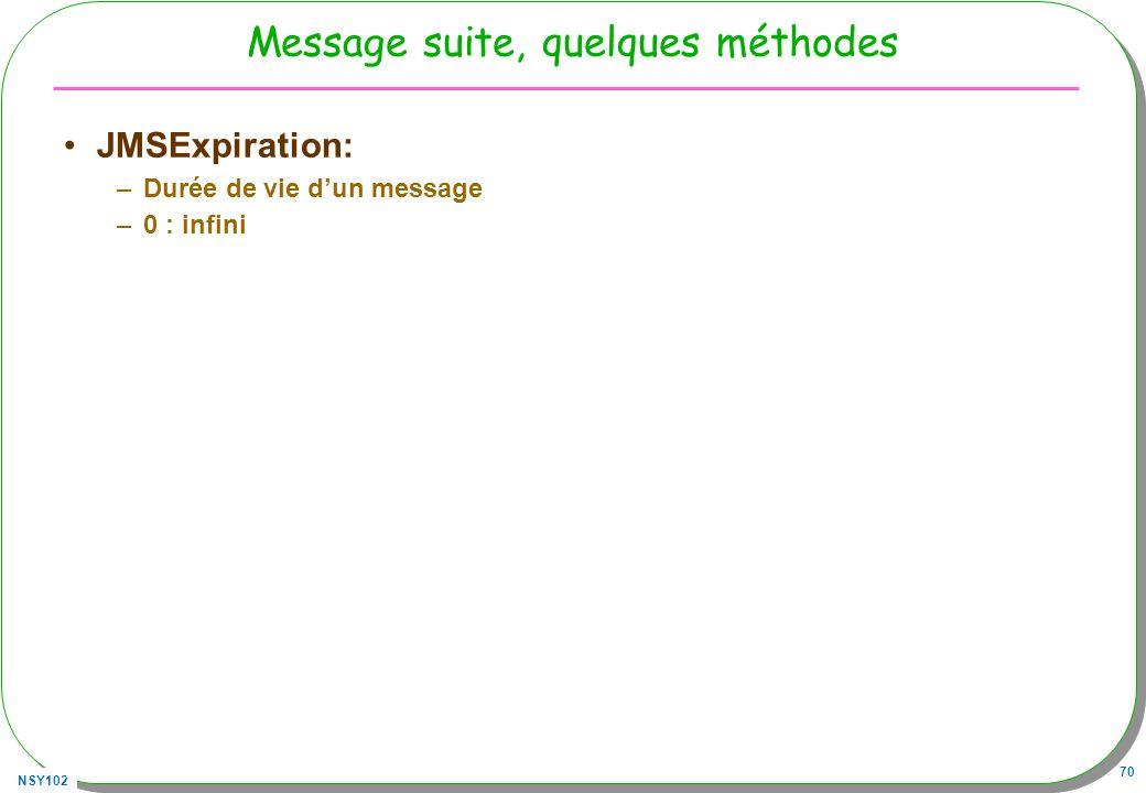 Message suite, quelques méthodes
