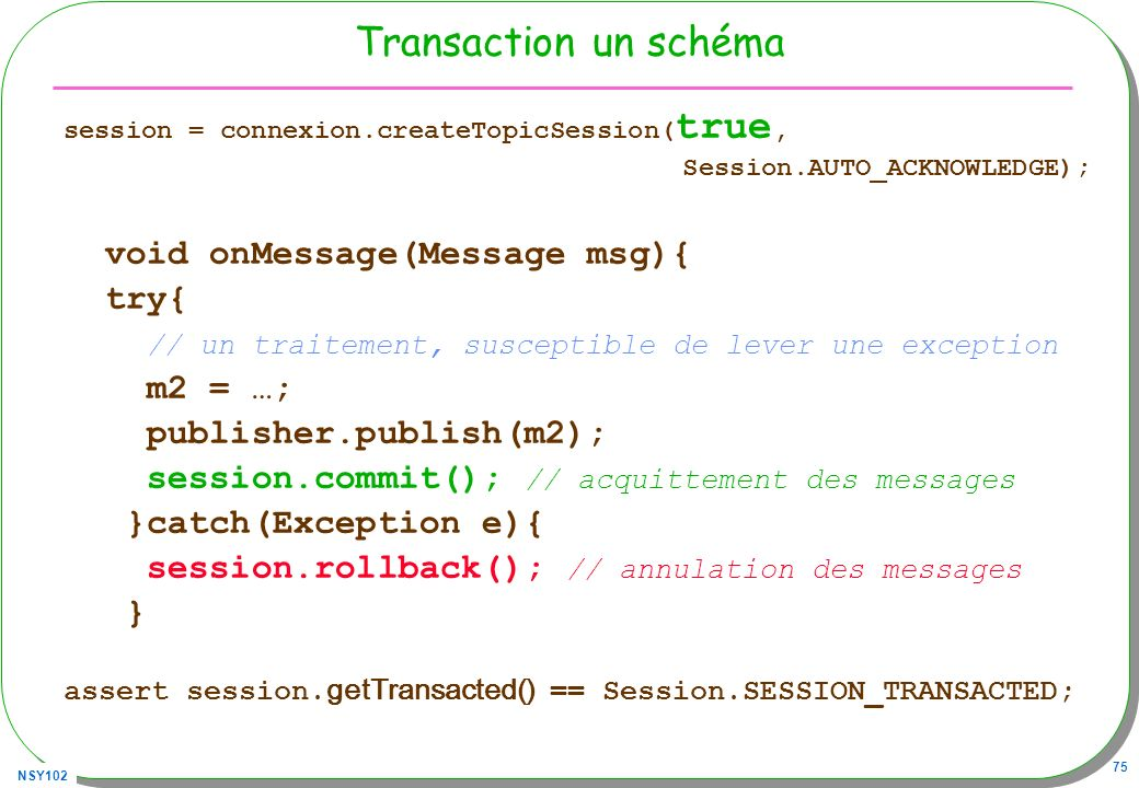 Transaction un schéma void onMessage(Message msg){ try{