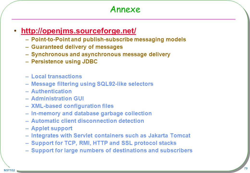Annexe http://openjms.sourceforge.net/