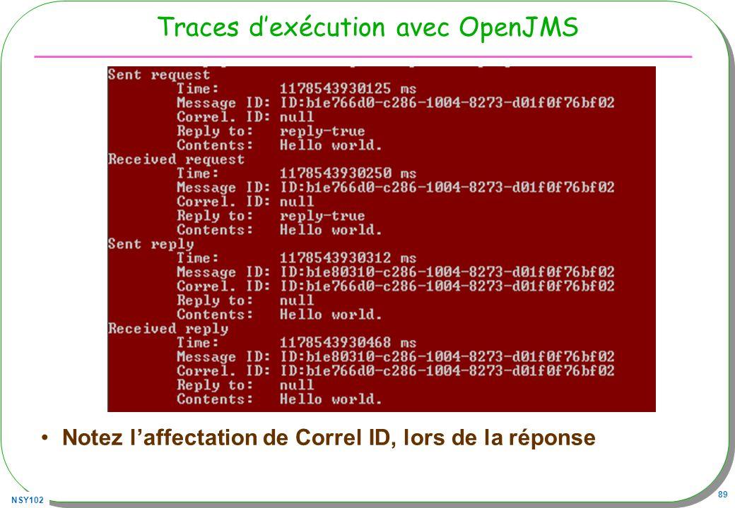 Traces d'exécution avec OpenJMS