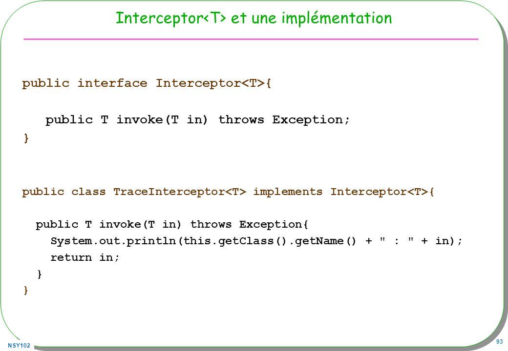 Interceptor<T> et une implémentation