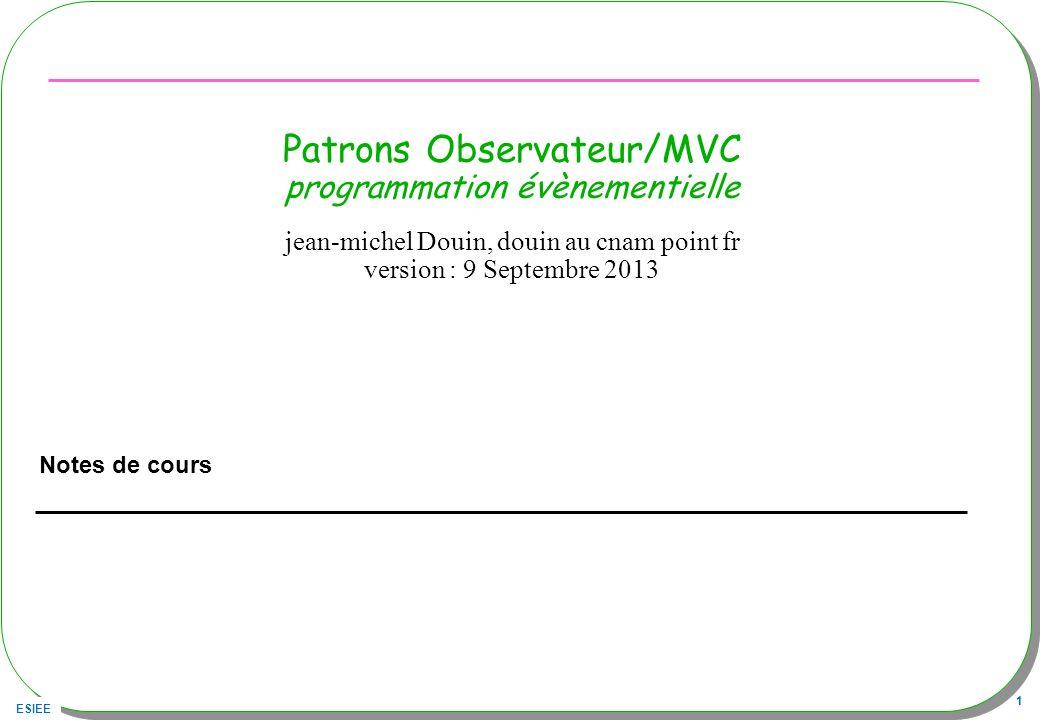 Patrons Observateur/MVC programmation évènementielle