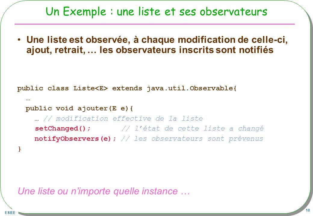 Un Exemple : une liste et ses observateurs