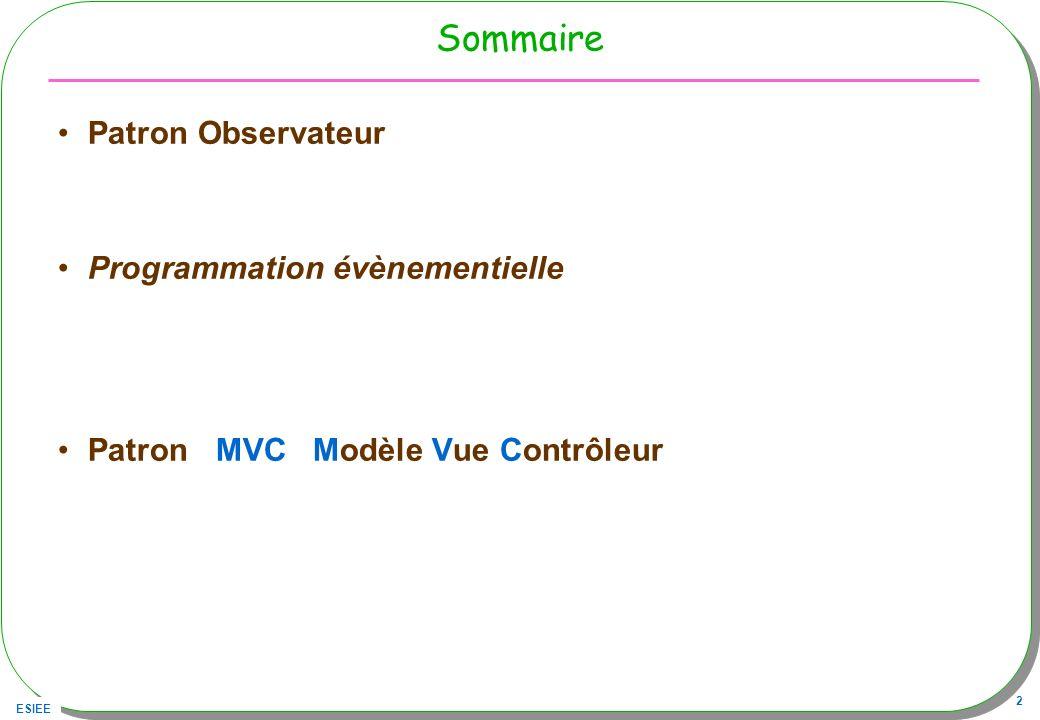 Sommaire Patron Observateur Programmation évènementielle