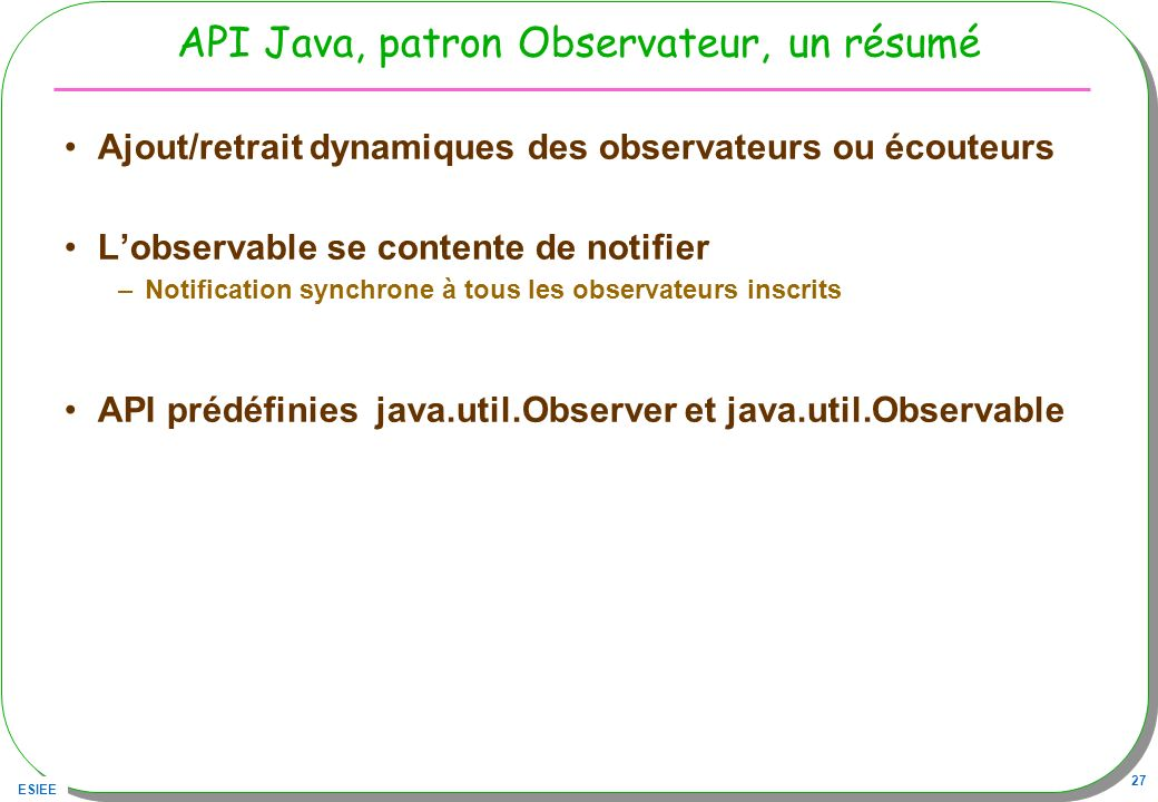 API Java, patron Observateur, un résumé