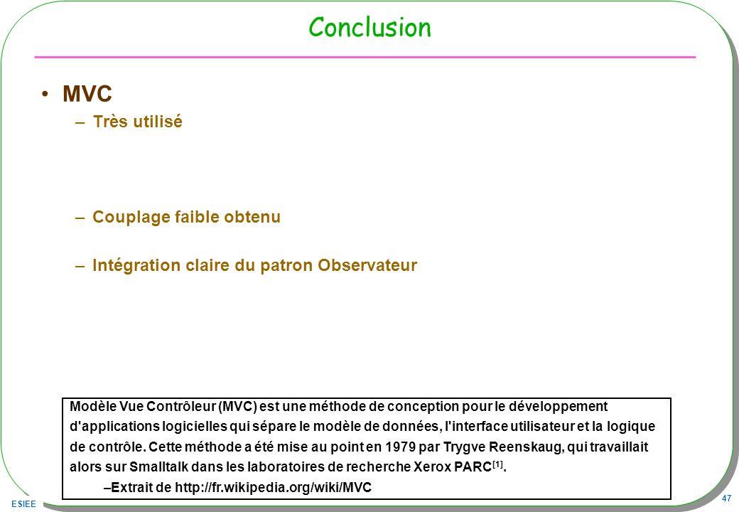 Conclusion MVC Très utilisé Couplage faible obtenu