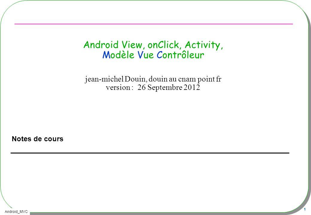Android View, onClick, Activity, Modèle Vue Contrôleur