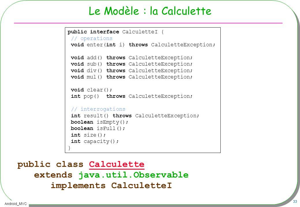 Le Modèle : la Calculette