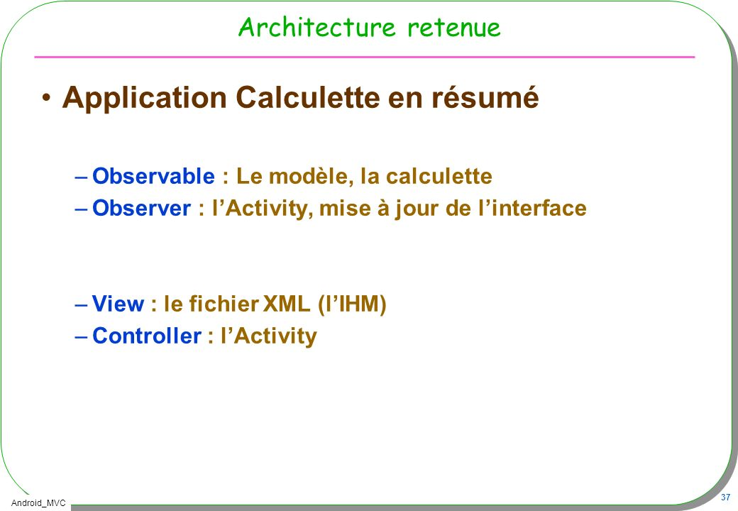 Application Calculette en résumé