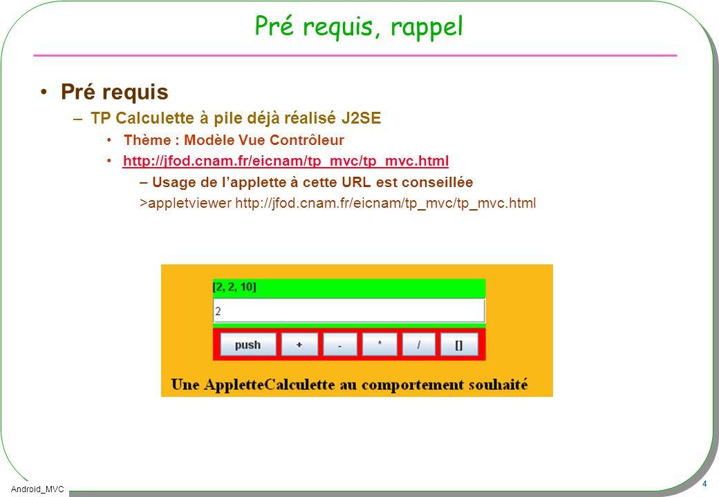 Pré requis, rappel Pré requis TP Calculette à pile déjà réalisé J2SE
