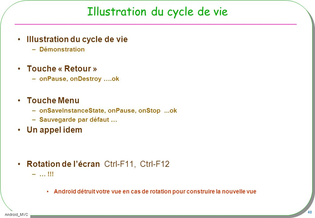 Illustration du cycle de vie