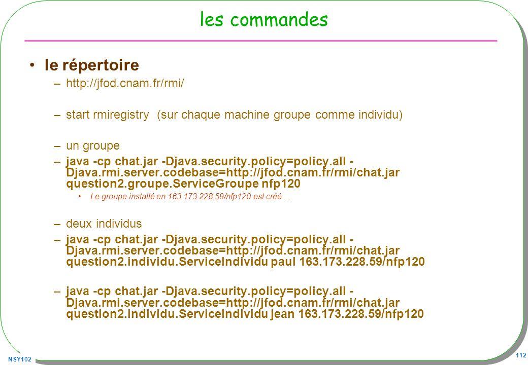 les commandes le répertoire http://jfod.cnam.fr/rmi/