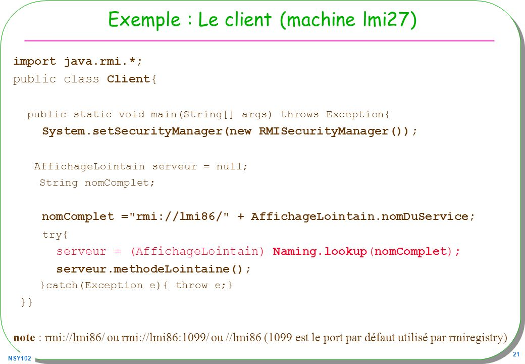 Exemple : Le client (machine lmi27)